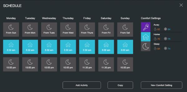 Ecobee3 schedule and comfort settings