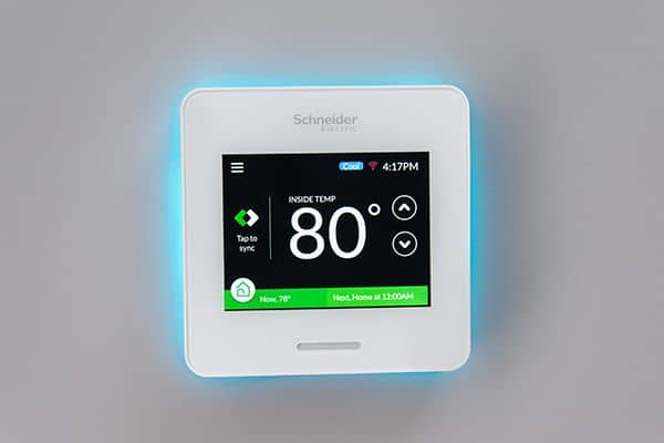The colorful, bright screen on the Wiser Air thermostat looks great but uses a lot of energy doing it.